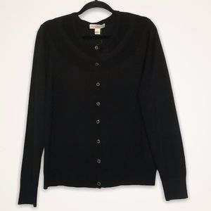 Melrose Chic Black Knit Buttoned Cardigan